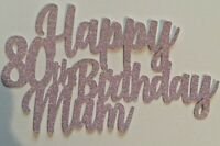 Custom 80th Birthday Cake Topper Glitter Any Name Word Personalised Pink Glitter