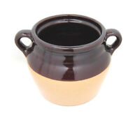 Vintage Glazed Pottery Stoneware Crock Bean Pot Tan Brown Made in USA No Lid