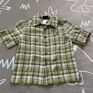 Patagonia Green Plaid Organic Cotton Button Up Shirt 3-4 Years