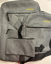 Gray Canvas Backpack Set- Backpack, 2 Other Bags