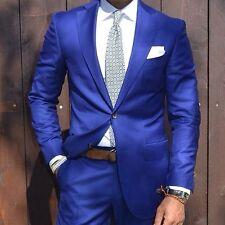 Blue Custom Made 2-Piece Mens Business Formal Wear Wedding Groom Tuxedos Suits
