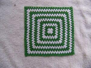 "Dollhouse Miniature Crocheted Afghan / Blanket 5"" 100% Cotton White & Green"