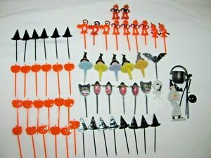 VINTAGE LOT OF HALLOWEEN ASSORTED CAKE TOPPERS~WITCH W/CAULDRON CATS & MORE