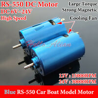 RS-550 Motor Blue DC 6V-24V 30000RPM High Speed Large Torque For RC Car/Boat New