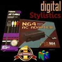 AC Adapter Power Supply & AV Cable Cord (Nintendo 64) NIB (NEW) N64 Bundle lot