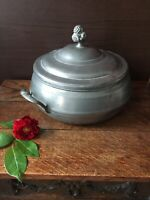 Antique Serving Dish Tureen Entree With Lid - Pewter Unmarked Berry Finial