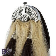 Horse Hair Piper Sporran w/ Thistle Cantle Natural & Black Hair