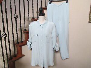 """NWOT Mel & Lisa 100% Silk Pantsuit Tabbed Sleeves Pockets 26-1/2"""" Inseam 1X 2X"""