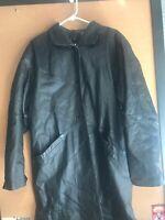 Preston & York Women's Large Leather Steampunk Trench Coat Long Vintage Black