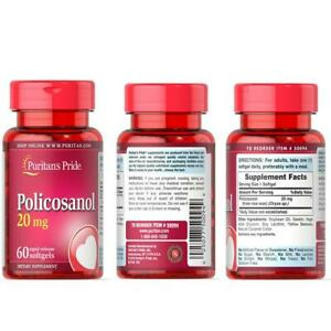 Puritan's Pride Policosanol Rapid Release- General Wellness - 20 mg x60 Softgels