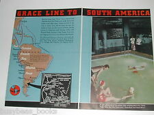 1937 Grace Line Cruise Ship ad, 2 page, color photo