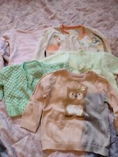 Job Lot 5 Jumpers Cardigans Girls Size 9-12 Months Pink Cute