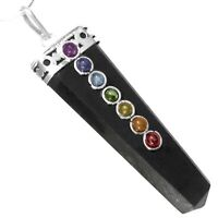 Black Tourmaline Crystal Chakra Pendant Sterling Silver Necklace Reiki CHARGED