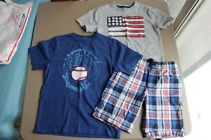 Gymboree Boy T-Shirts and Shorts Baseball Red & Blue EUC Size 8 - 10 Lot of 3