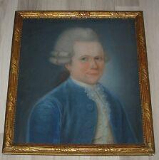 Ancien tableau pastel XVIII - Portrait marquis royauté noblesse bourgeoisie