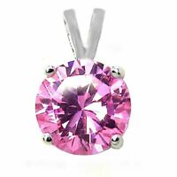 1.25 ct. Pink Sapphire Solitaire Pendant Necklace in Solid Sterling Silver