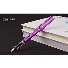 2017 Wing Sung 6359 Purple Metal Fountain Pen Push Extra Fine EF Nib 0.38mm Gift