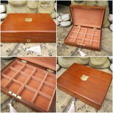 ANTIQUE JEWELLERY BOX - 19c SOLID MAHOGANY - WONDERFUL INTERIOR