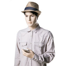 Adult Male Realistic Fleshtone Fiberglass Mannequin Walking with Cell Phone Pose