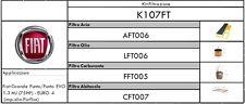 KIT TAGLIANDO 4 FILTRI FIAT GRANDE PUNTO/PUNTO EVO 1.3 MULTIJET (75HP) EURO 4