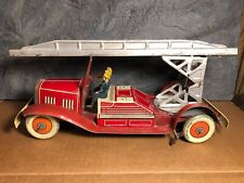 """Vintage Mettoy   Pre 1946   Tin 15"""" Fire Truck   Made in England   Works"""