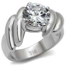060 4.7CT SOLITAIRE SIMULATED DIAMOND ENGAGEMENT  RING STAINLESS STEEL WOMENS