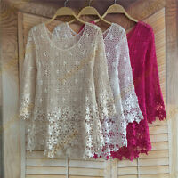 New Fashion Women Floral Loose Crochet Sleeve Lace Sexy Tee Top Shirt Blouse