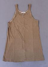 Ozma Of California Women Sleeveless Silk Noil Jersey Boy Tank Top AB3 Tea Large