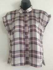 NEW Ex TOPSHOP: Check Print Cropped Smart Casual Blouse Shirt Top Size 8-16