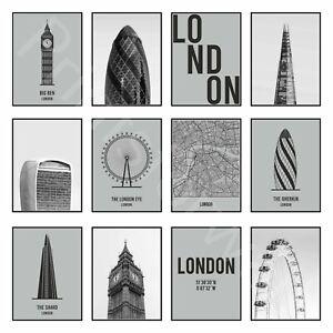 London Art Print Poster Big Ben Eye City Map Travel Print Poster Wall Decor Art
