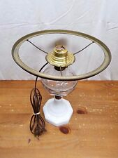 Antique Electric 19th Century Pressed Clear Font Oil Lamp Milk Glass Base 12.5""
