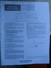 Pioneer Ct-M66R Ct-M55R Cassette Tape Deck Changer Operating Instructions Manual