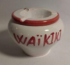 VTG Hawaii Waikiki Ashtray Souvenir Hand Painted Ceramic 2 Piece Tiki Bar Unique