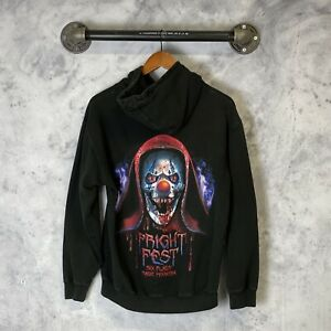 Six Flag Fright Fest Spell Out Pullover Hoodie Sweatshirt Black Stained M M2