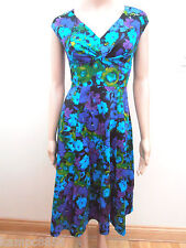 New Debenhams Blue Green Purple Floral Cotton Dress Sz UK 10