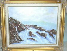 """Rocky Beacb south of Portland Maine 16"""" x 20"""" Oil with frame by Robert Barlow"""