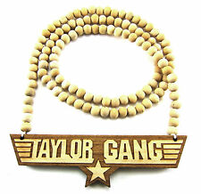 "Wooden Taylor Gang Piece 36"" Chain Bead Necklace All Good Wood Wiz Khalifa Style"
