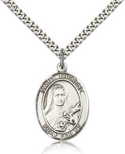 "Saint Therese Of Lisieux Medal For Men - .925 Sterling Silver Necklace On 24""..."