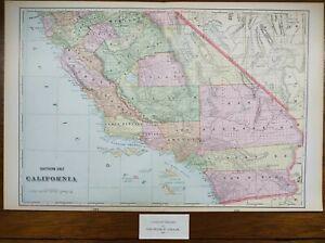 "Vintage 1901 SOUTHERN CALIFORNIA Map 22""x14"" ~ Old Antique Original LOS ANGELES"