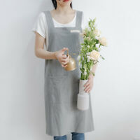 Women Cotton Linen Cross Back Apron Japanese Housework Baking Wrap Florist Dress