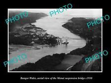OLD LARGE HISTORIC PHOTO OF BANGOR WALES, VIEW OF THE MENAI BRIDGE c1930 1