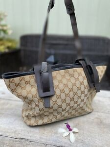 Authentic Gucci Vintage Monogram Wood Accent Browns Tote Bag🌺
