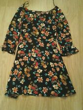 BNWT SIZE 8 BLACK FLORAL TEA DRESS WITH TRUMPET SLEEVES