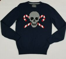 AEROPOSTALE MEN'S SMALL CREW NECK WOOL BLEND SWEATER SKULL CANDY CANES EUC YK