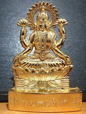 GODDESS OF WEALTH LAKSHMI LAXMI GOLDEN METAL MINI STATUE HINDU IDOL DIWALI POOJA