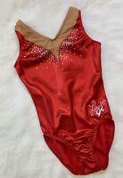 LAURIE HERNANDEZ GK ELITE gymnastics LEOTARD Ruby RED Sparkle BLING Tank Sz: AXS