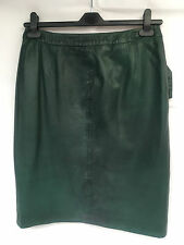 Ladies Genuine High Quality Green Faded Leather Skirt. UK 10.