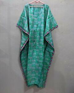 Vintage pure Silk Kaftan, Hospital Kaftan dress, Loose Tunic Indian Kaftan # 173