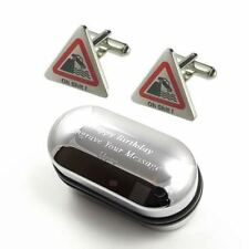 Comedy Stag Do, Wedding Oh Sh*t Road Sign Cufflinks & Engraved Gift Box (APS664)