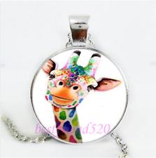 Cute Giraffe Photo Cabochon Glass Silver/Black/Bronze Chain Pendant Necklace